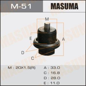 Болт маслосливной С МАГНИТОМ MASUMA M51