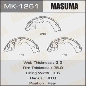 Колодки барабанные MASUMA MK1261