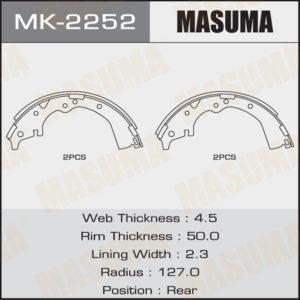 Колодки барабанные MASUMA MK2252