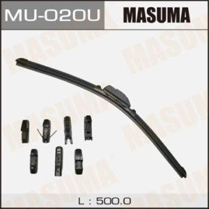 Дворник MASUMA 20'   бескаркасный, универсальный   (500мм)  8 видов креплений  (1/50) - (MU020U)